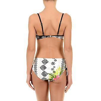 David Club Tropicana Floral Print Black and White Bikini Set 6402-DG