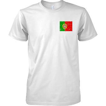 Portugal gequält Grunge Effekt Flaggendesign - Kinder-Brust-Design-T-Shirt