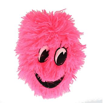 Children's 9 Inch Inflatable Neon Pink Smiley Happy Face Furry Ball With Eyes