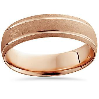 14K Rose Gold Mens Brushed Double Line Wedding Band 6mm Wide Ring