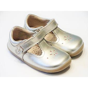 Bobux Toddler Girls Gold Leather T-Bar Barefoot Shoes