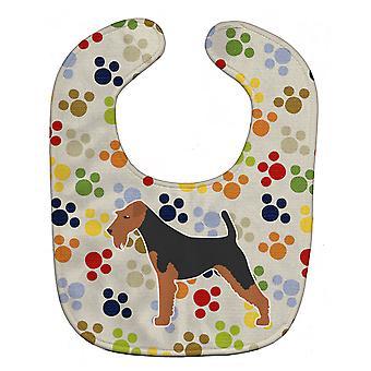Carolines Schätze BB6362BIB Airedale Terrier Pawprints Baby Lätzchen