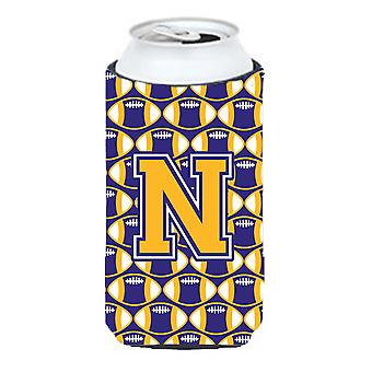 Letter N Football Purple and Gold Tall Boy Beverage Insulator Hugger