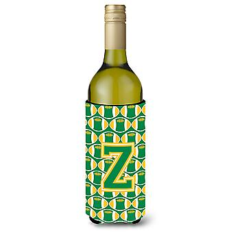 Letter Z Football Green and Gold Wine Bottle Beverage Insulator Hugger
