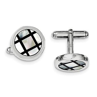 Black Criss Cross Enamel Cuff Links in Sterling Silver