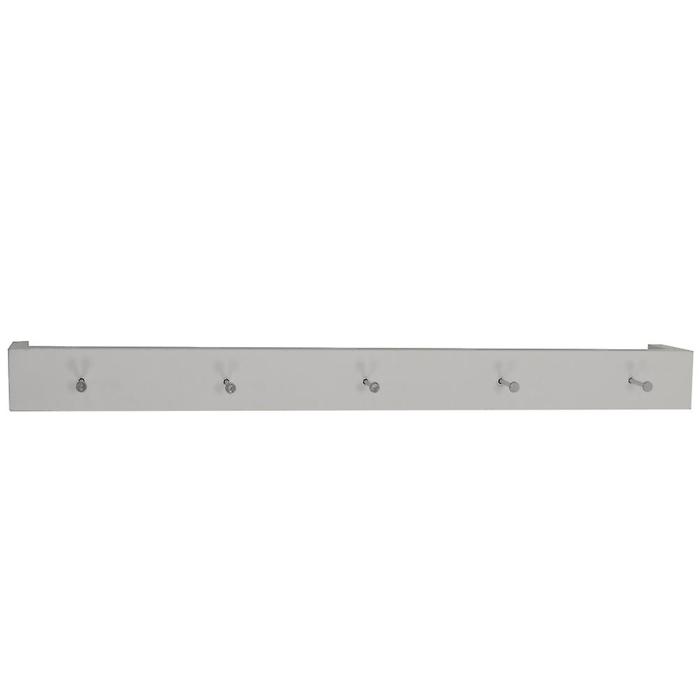 Ellis - Wall Mounted 80cm Floating 5 Coat Hook Shelf / Bathroom Storage - White