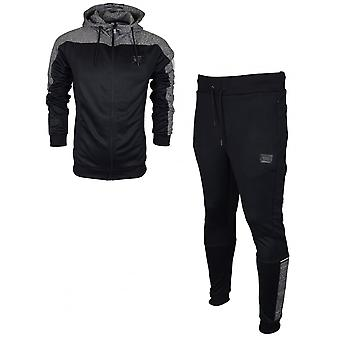 Born Rich Pardo Mcnair Hooded Polyester Zip Up Black Tracksuit