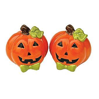 Halloween smilende Orange Jack-O-lanterner keramisk Salt og peber Shaker sæt