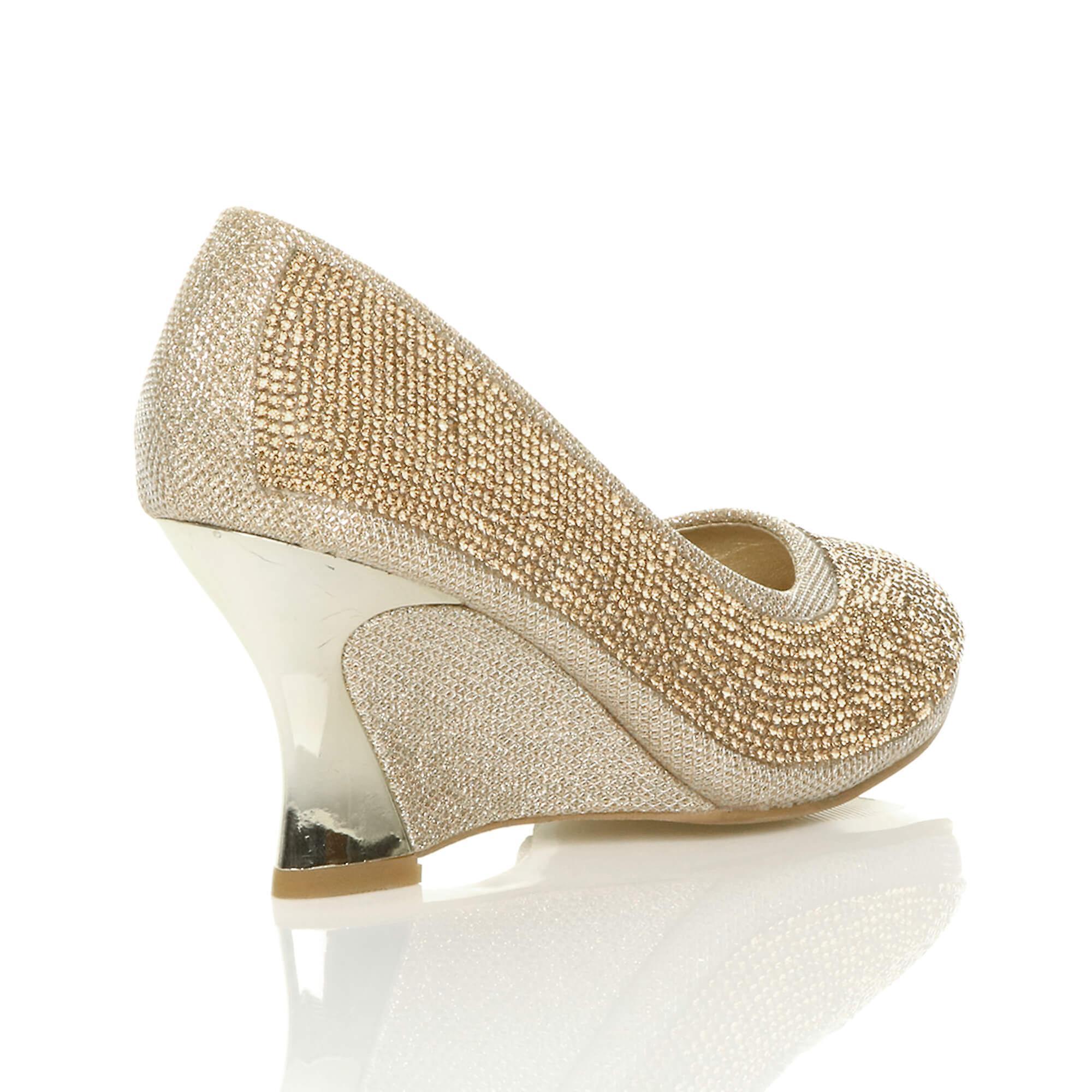 wedding evening wedge pumps womens Ajvani diamante platform heel bridal mid shoes court prom qYSwxO8g