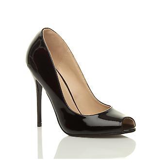 Ajvani mujer tacón alto fiesta de baile trabajo bombas corte zapatos sandalias