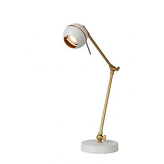 Lucide Binari White And Satin Gold Modern Desk Lamp 5W LED 40cm Tall