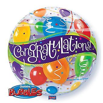 Ballon Bubble Kugel doppelseitig bedruckt Congratulations Luftballons Glückwunsch circa 55cm Ballon