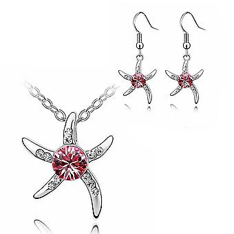 Womens Silver Starfish Necklace And Earrings Set Pink Crystal Stone