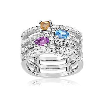 Ring in Silver 925 and 57 Zirconia Multicolor Swarovski crystals