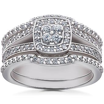 1ct TDW Cushion Halo Diamond Trio Engagement Guard Wedding Ring Set Gold