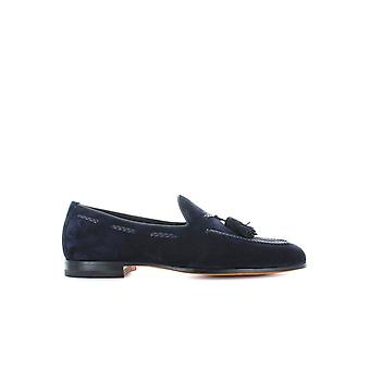 SANTONI BLUE SUEDE MOCCASIN WITH TASSELS