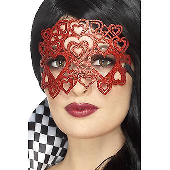 Harlequin felt heart eye mask