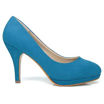 CHIP Turquoise Faux Suede Pumps Mid-High Heel Low Platform Office Court Shoes