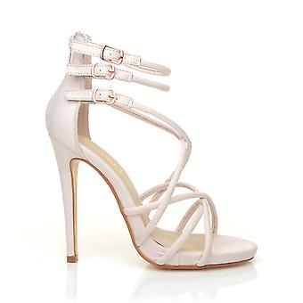 PARTY Nude Faux Suede Strappy Stiletto High Heel Peep Toe Sandals