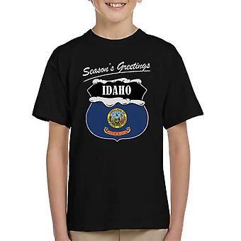 Seasons Greetings Idaho State Flag Christmas Kid's T-Shirt