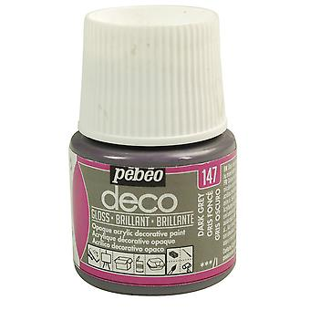 Pebeo Deco Water-Based Glossy Colours 45ml (147 Dark Grey)