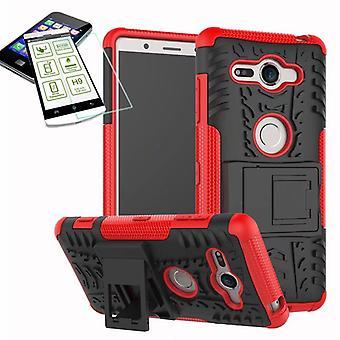 Hybrid Case 2teilig Rot für Sony Xperia XZ2 Compact / Mini Tasche Hülle + Hartglas