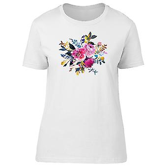 Pink Roses Flowers Indigo Leaves Tee Women's -Image by Shutterstock
