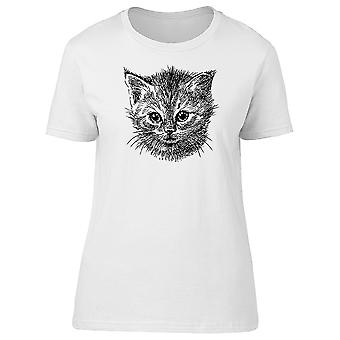 Small Kitten Hand Drawn Tee Women's -Image by Shutterstock