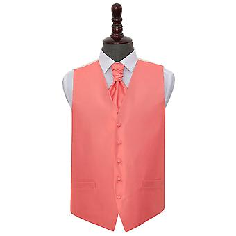 Check tinta corallo matrimonio gilet & Cravat Set