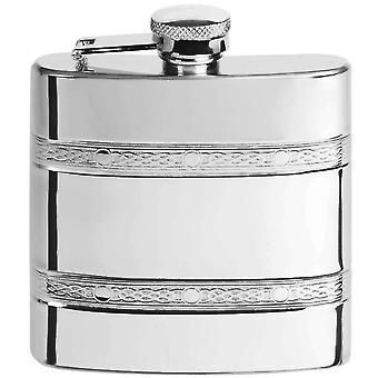 Orton West 6oz Stainless Steel Celtic Bands Hip Flask - Silver