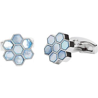 Simon Carter Mother Of Pearl Honeycomb Cufflinks - Blue