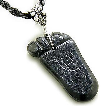 Viel Glück und Schutz Talisman Fuß schwarz Jade Halskette