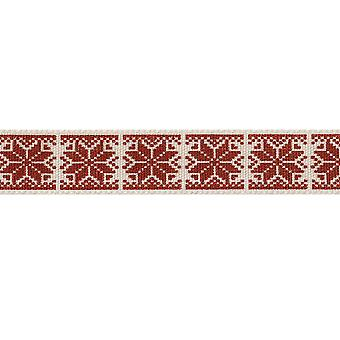 15mm Christmas Craft Ribbon - 4m - Nordic Snowflake