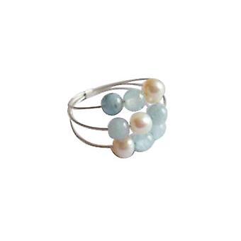Gemshine - women's - ring - 925 Silver - aquamarine - beads - blue - white