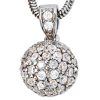 Trailer ball 925 sterling silver rhodium plated with zirconia all around