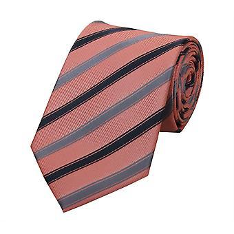 Schlips Krawatte Krawatten Binder 8cm lachsrot rot gestreift Fabio Farini