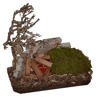Nativity accessories stable Nativity set Campfire flickering light wood tree wall Moss