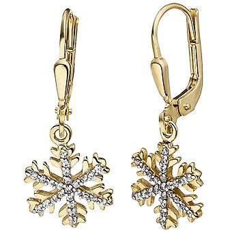 Earrings snowflake 333 gold yellow gold cubic zirconia earrings gold earrings