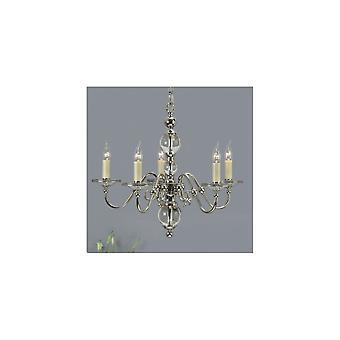 Interiors 1900 Tilburg Polished Nickel & Crystal 5 Light Chandelier