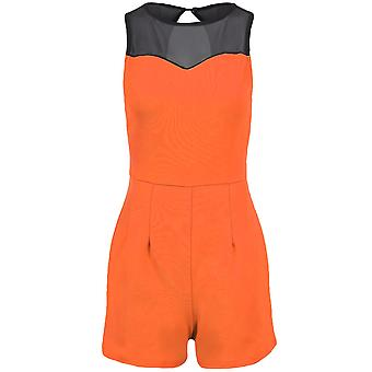 Ladies Sleeveless Sweetheart Mesh Neck Contrast Women's Party Playsuit Shorts