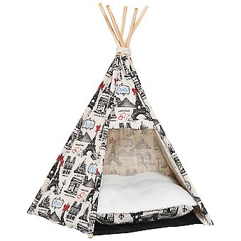 PawHut Portable Pet Teepee Tent Foldable Cat Bed Dog House Small Animal Play Kennels Removable Washable Cushion