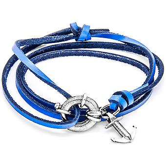 Anchor and Crew Clyde Silver and Leather Bracelet - Royal Blue