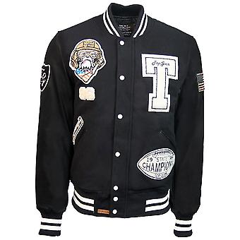 Top Gun Wool Leather Top Dog Varsity Bomber Jacket
