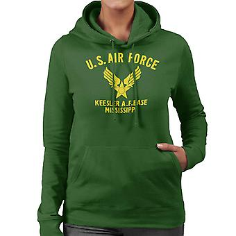 US Airforce Keesler AF Base Mississippi Yellow Text Women's Hooded Sweatshirt