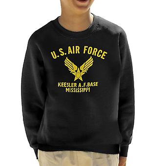 US Airforce Keesler AF Base Mississippi Yellow Text Kid's Sweatshirt