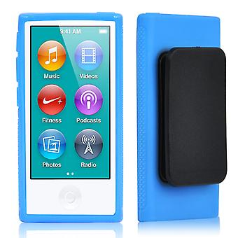 TRIXES Blue TPU Clip Gel Case for New Apple iPod Nano 7th Generation Cover Shell