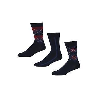 Ben Sherman mannen 3 Pack dagelijks kalf sokken Navy Red Blue Print Plain Zonda