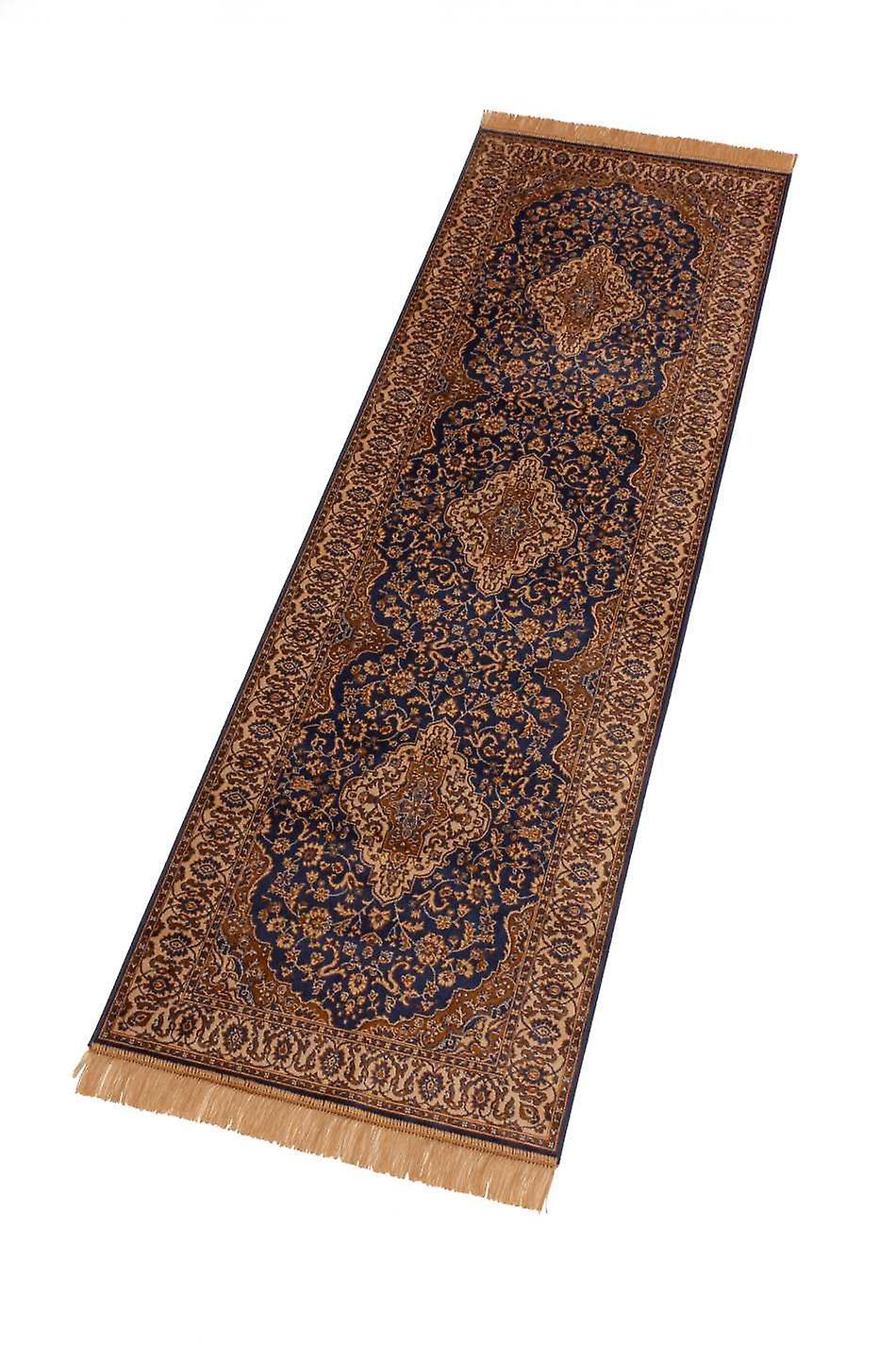 Blue Persian Medallion Artsilk Faux Silk Effect Hall Runner Rugs 9099/9
