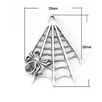 Packet 6 x Antique Silver Tibetan 32mm Spider Web Charm/Pendant ZX01070