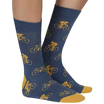 Cycling Man bamboo organic crew socks in denim | seriouslysillysocks